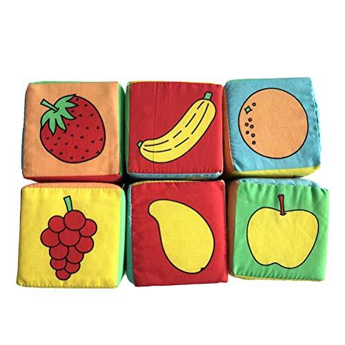 YeahiBaby 6pcs Cubos de Tela Bebe Bloques Blandos de Aprendizaje Producto para el Desarrollo de Actividad para bebé
