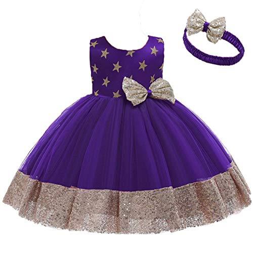 para 1-6 Aos Vestido de Fiesta Nia Encaje Tul Vestido Princesa Nia con Lazo Vestidos de Nia + Diadema Vestidos para Ninas para Boda Vestido Ceremonia Nia (#Morado, 1-2 aos)