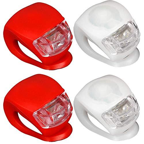 Grunda 4er Set regenfest Kinderwagenlicht mit heller LED & 3 Leuchtfunktionen inkl. CR 2032 Batterien, 2 weiße & 2 rote LED, Flexible Silikon Klemmleuchte für mehr Sicherheit