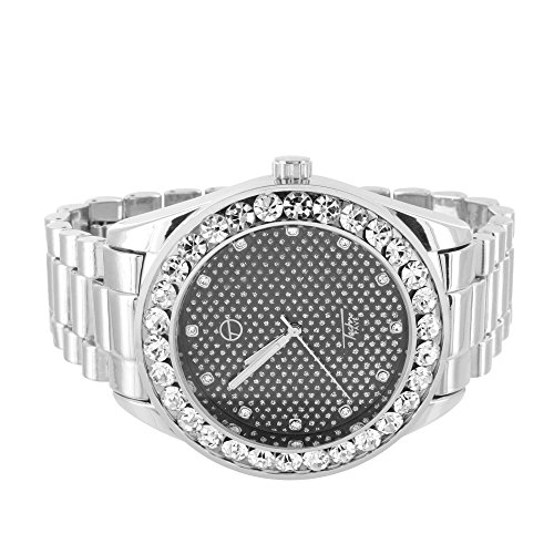 MASTER OF BLING President Band Watch Solitaire Simulated Diamond Bezel Black Dial Techno Pave Men 46mm