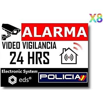 12 pegatinas con alarma I 5 x 3 cm exterior adhesivo UV + resistente a la intemperie I Advertencia sistema de alarma para ventana de puerta, edificio, objeto, garaje, coche, pegatina roja