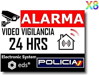 Egero - Pegatinas disuasorias Video Vigilancia Alarma Policia x8 Antirrobo para Casa Edificio Comercio Garaje. Pegatinas de videovigilancia de Calidad Profesional.
