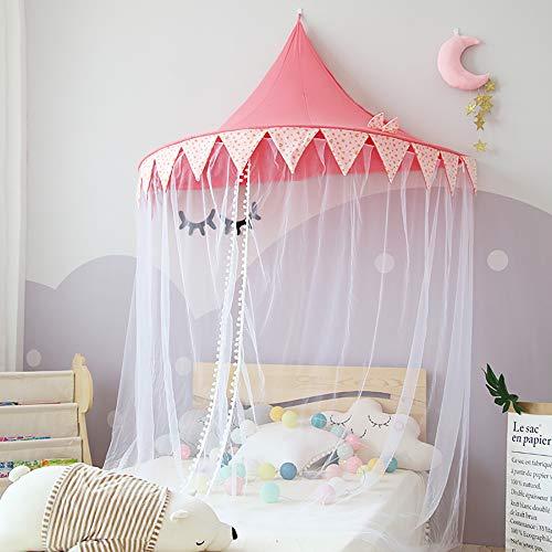Yideng Tenda a baldacchino in cotone, 150X70CM Baldacchino principessa con sommità a cupola, per lettino dei bambini, decorazione per la cameretta, zanzariera per giocare alle principesse