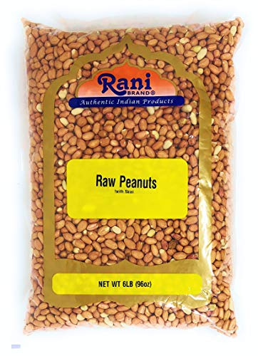 Rani Peanuts, Raw Whole With Skin (uncooked, unsalted) 6lbs (96oz) Bulk ~ All Natural | Vegan | Gluten Free Ingredients | Fresh Product of USA ~ Spanish Grade Groundnut / Red-skin