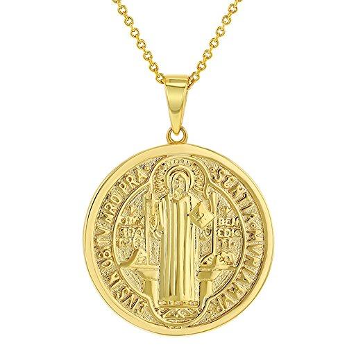 In Season Jewelry - Collar con colgante de medalla de San Benito chapado en oro de 18 quilates, reversible, 19 pulgadas