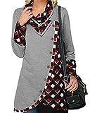 ACHIOOWA Blusa de manga larga para mujer, vestido de jersey,