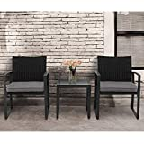 Crownland Outdoor Patio Furniture 3 Piece Bistro Set Chairs Wicker Rattan Conversation Furniture and Thickened Cushions,Glass Coffee Table for Backyard Porch Poolside Lawn(Grey)