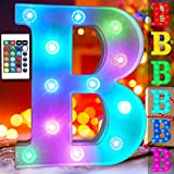 Colorful Changing LED Letter Lights Alphabet Signs, Battery Operated Marquee Letters Lamp Night Light Timer Dimmable Wedding, Wall, Home, Birthday Decorations for Women- RGB Letter B