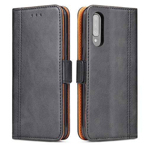 Bozon Handyhülle für Galaxy A50/A30s, Lederhülle mit Kartenfächer, Schutzhülle mit Standfunktion, Klapphülle Tasche für Samsung Galaxy A50/A30s (Schwarz-Grau)
