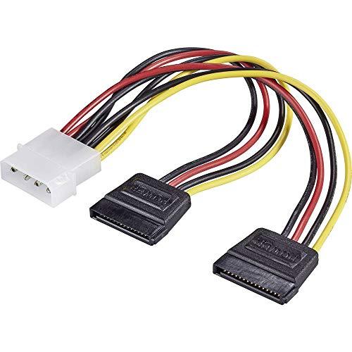 Renkforce Strom Y-Adapter [1x IDE-Strom-Stecker 4pol. - 2X SATA-Strom-Buchse 15pol.] 16.00 cm Schwarz, Rot, Gelb