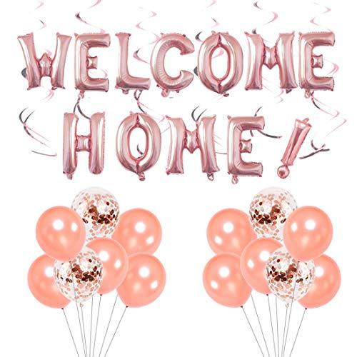 LQH Willkommen zu Hause Party Pack Rose Gold Willkommen zu Hause Dekorationen mit Schreiben Bunting Banner Konfetti Luftballons hängend Strudel