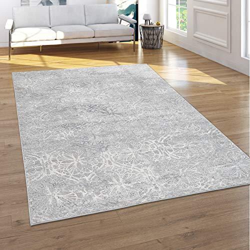 Paco Home Teppich Wohnzimmer Kurzflor Blumen Orientalisches Muster Ornamente 3D Effekt Grau, Grösse:160x220 cm