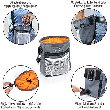 Bella & Balu Sac friandise pour Chien + gamelle Pliable + clicker + Sacs a crottes + Jouet Chien Corde - Sac de Dressage avec Distributeur de Sacs à crottes intégré et gamelle de Voyage (Orange)