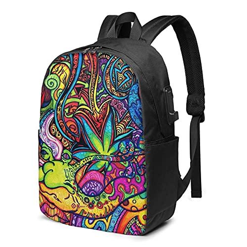 Colorido psicodélico Trippy Art, mochila de viaje para portátil con puerto de carga USB para hombres y mujeres de 17 pulgadas, ver imagen, Talla única,