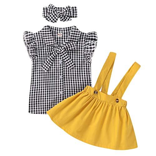 Peuter Meisje Jarretelle Rok Outfits Geruite Mouwloos Shirt Riem Rok Hoofdband Klassieke Kleding