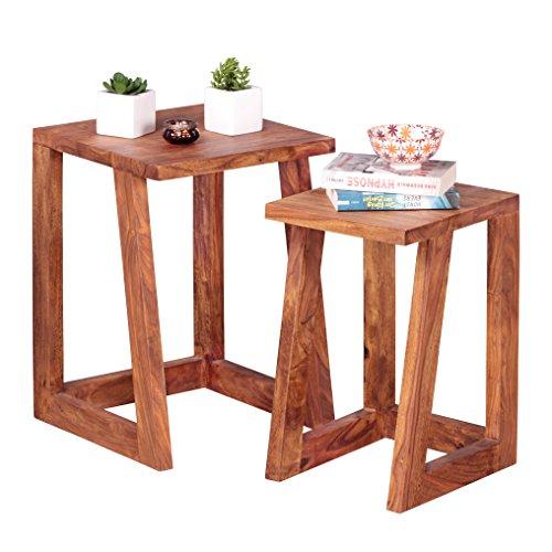 Wohnling 2er Set Beistelltisch Massivholz Sheesham Design Wohnzimmer-Tisch eckig Nachttisch...