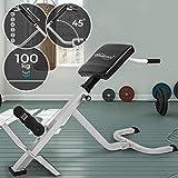 Appareil de Musculation pour Dos - Réglable en 6 Positions, Charge Max. 100kg, Entraînement de Dos, Abdominaux et Fessier - Appareil Hyper Extension, Banc Sit Up, Chaise Romaine