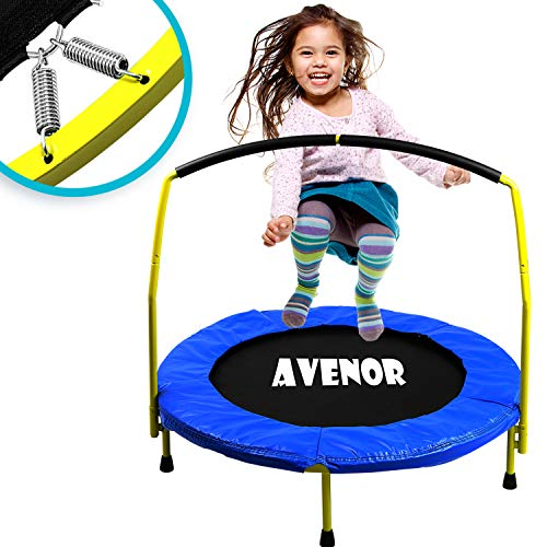 Toddler Trampoline With Handle - 36' Kids Trampoline With Handle - Mini Trampoline w/ Sturdy Frame,...