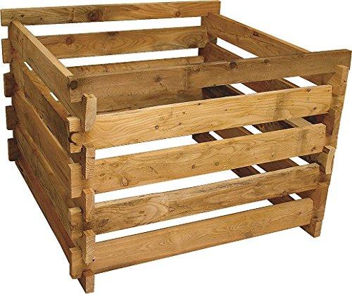 Gartenwelt Riegelsberger Holzkomposter Lärche 120x120xH60 cm mit Holz-Stecksystem Komposter Komposte Steckkomposter Kompostsilo