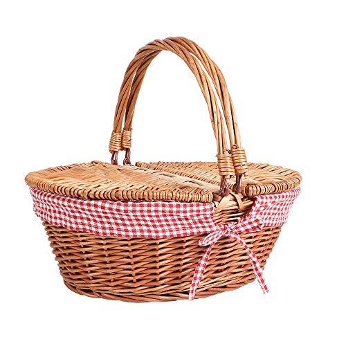 Display4top Cestino da Picnic in Vimini Stile Ovale in Stile Country con Maniglie e...