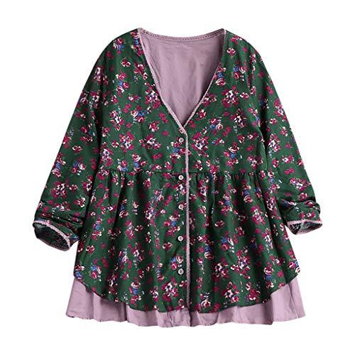 FRAUIT dames en linnen kant print shirt lente zomer elegante dames vrouwen opstaande kraag lange mouwen casual dagelijks party strandvakantie losse tuniek tops T-shirt blouse