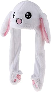 Prettyia Movable Jumping Rabbit Ear Hat Fluffy Costume Hat Bunny Plush Hat Party Cap
