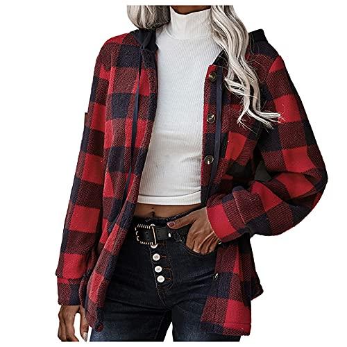 NHNKB Chaqueta de invierno para mujer, fina chaqueta a cuadros, con capucha, cierre de botones, chaqueta de invierno, rojo, S
