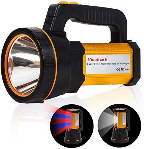 MAYTHANK Super Bright Cree Led Antorcha Linterna USB Recargable Grande 4 Baterías 10000MAH 6000 Lúmenes Portátil de alta potencia Proyector de mano Reflector Linterna de camping