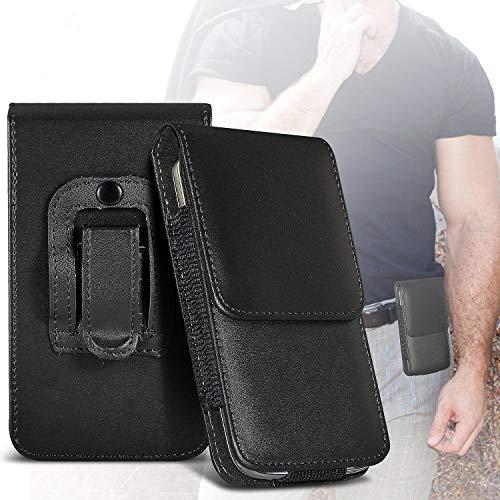 ONX3 Schwarz vertikale Tasche Kunstleder gürtel Handy Tasche case Abdeckung mit magnetverschluss kompatibel mit Wiko Selfy 4G