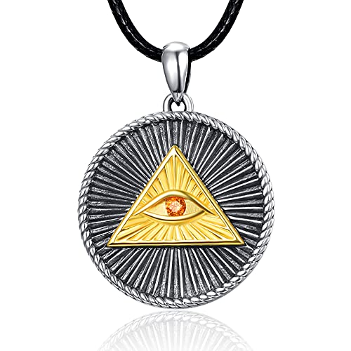PRAYMOS Sterling Silver Evil Eye Pendant Men Necklace Necklace For Men Boys Charm Pendant on a Chain Jewelry gift