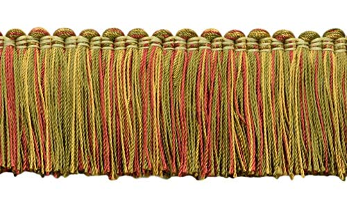 DÉCOPRO 5 Yard Value Pack - Alexander Collection 2 inch Brush Fringe Trim|Green, Red, Gold|Style#: 0200AXB (21763)|Color: Peony - LX07 (15 ft/4.6 M)