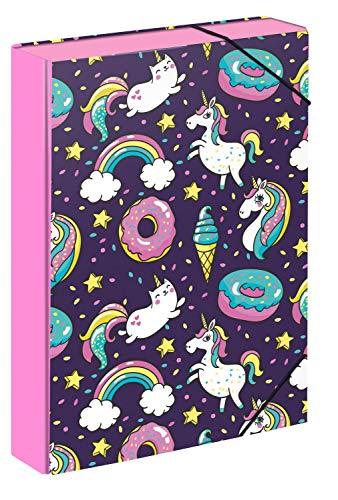 Baagl Heftbox für Schulranzen - Heftmappe A4 für Kinder mit Gummiband und Innenklappen - Sammelmappe, Sammelbox mit Gummizug für Jungen (Einhorn)