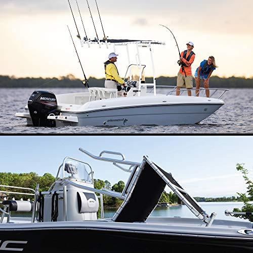 Split photo of family fishing off boat on top and man folding Fishmaster Original T-Top on a boat