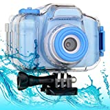 BEERGEE Kids Waterproof Camera for 3-12 Years Old Boys Girls Christmas Birthday Gifts, Kids Underwater HD Digital Dual Lens Video Action Camera with High Capacity Battery and 32GB SD Card