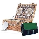 El Grosvenor 4persona cesta de Picnic y tradicional verde manta–lujo mimbre cesta con accesorios y construido en compartimento enfriador–ideas de regalo para Navidad, cumpleaños, boda, aniversario