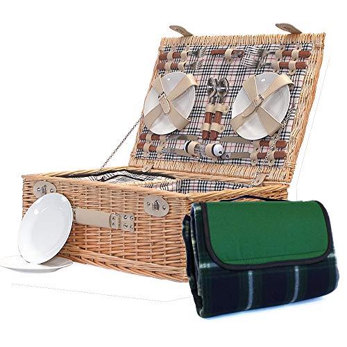 The Grosvenor & tradizionale coperta verde–Cesto da picnic per 4persone in vimini, con scomparto integrato Deparaffinatore & accessori–idea regalo per Natale, compleanno, matrimonio, anniversario