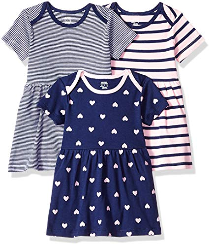 Amazon Essentials - Pack de 3 vestidos para niñas, Girl Heart, Bebé prematuro