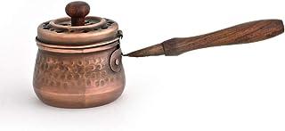 Bitto Sartén de Metal para Incienso SUHAR de Cobre con Mango de Madera y Tapa, L: 17 cm, A: 7 cm, Ø 6 cm Deco Fragancia.