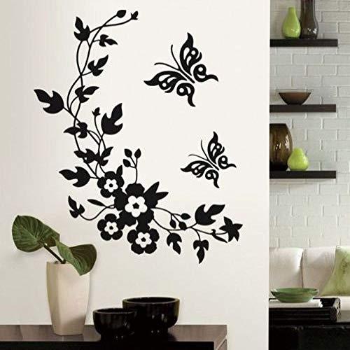 Modeganqingg Hermosa Flor Negra Vid Mariposa Pegatina decoración de la habitación Apliques Pared Art Deco vivero Pegatina de Pared y jardín Negro 56x68cm
