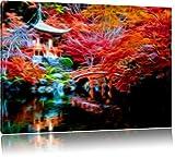 Temple chinois, peinture sur toile, d'énormes photos XXL complètement encadrée avec civière, copie d'art de l'image de mur avec cadre, moins cher que des peintures ou des photos, pas d'affiches ou poster, Leinwand Format:100x70 cm