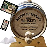 Personalized American Oak Whiskey Aging Barrel (063) - Custom Engraved Barrel From Skeeter's Reserve Outlaw Gear - MADE BY American Oak Barrel - (Natural Oak, Black Hoops, 2 Liter)