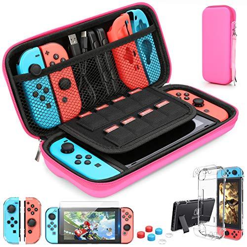HEYSTOP Nintendo Switch Accesorio, Nintendo Switch Funda Funda de Transporte para Nintendo Switch Nintendo Switch Protector de Pantalla Apretones de Pulgar(Rosa Roja)