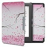 kwmobile Carcasa Compatible con Kobo GLO HD/Touch 2.0 - Funda para Libro electrónico con Solapa - Flores Cerezo cayendo