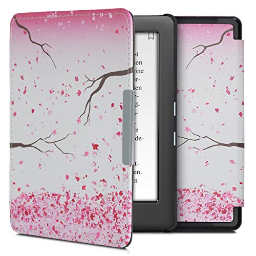 kwmobile Hülle kompatibel mit Kobo Glo HD/Touch 2.0 - Kunstleder eReader Schutzhülle Cover Case - Kirschblütenblätter Rosa Dunkelbraun Weiß