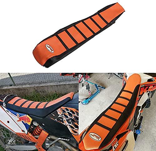 JFGRACING Naranja/Negro Agarre Cubierta de Asiento de la Motocicleta Suave para K.T.M 65 85 105 125 144 150 200 250 300 450 500 530 XC EXC SX SXF 07-14