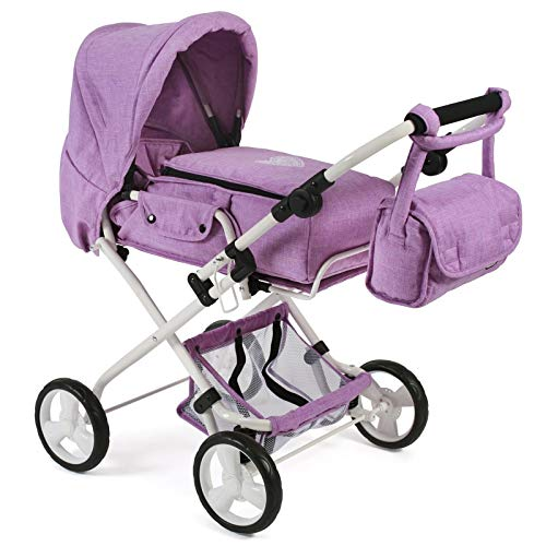 Bayer Chic 2000 Bambina 586T35 Combi Doll's Pram for Baby Dolls up to 52 cm Including Removable Carry Bag and Changing Bag Melange Purple