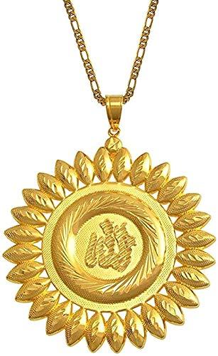 Yiffshunl Collar 7.5Cm Gran Alá Collares Colgantes Collar Africano de Color Oro Joyería Islámica Collar de Regalo de Oriente Medio Regalo