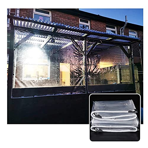 XKUN Lona transparente impermeable, lona de vidrio transparente resistente con ojales de PVC grueso suave cortina de lluvia para balcón (color: transparente, tamaño: 1 x 1,5 m)