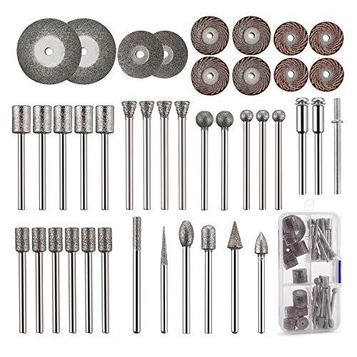 Cedilis 43-Pack Stone Carving Set - 26 Diamond Burr Bits, 10 Impeller, 4 Diamond Cutting Wheel, 3 Metal Dremel, Polishing Rotary Tools for Stone, Rocks, Jewelry, Glass, Ceramics Dremel Rotary Tools