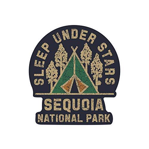 Tra56owe Sequoia National Park, Sleep Under the Stars, Contour Vinilo Vinilo Coche Camión Motocicleta Parachoques Parachoques Decoración de Pared, Interior/Exterior